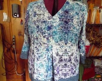 Womens  Blouse Purple and Blue Cotton Print Size 22
