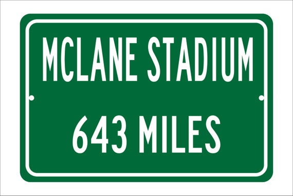 Custom College Highway Distance Sign to McLane Stadium | Home of the Baylor Bears | Personalized Distance to Baylor Stadium | Bears Football