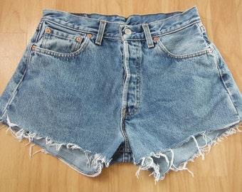 Levi Shorts - Pale Washed Out Bleached Blue Denim - W32 - Vintage