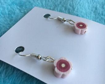 Maroon flower earrings