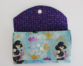 Disney Princess Jasmine Wallet Aladdin Quilted Accordion Wallet with card slots and zipper pockets