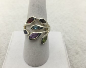All natural multi stone sterling silver ring