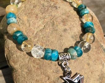 Sharks Gemstone Bracelet ~ Blue Apatite, Citrine, Quartz