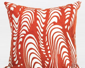 "Luxury Orange Warp Chevron Embroidered Pillow 20""X20"""