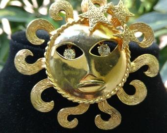 Hippie sun brooch