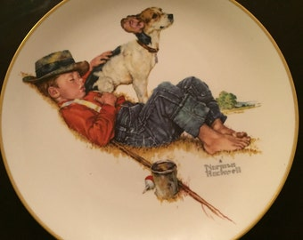 "A Boy and His Dog Norman Rockwell Limited Edition 1971 ""Spring - Adventurers Between Adventures"" Decorative Plate"