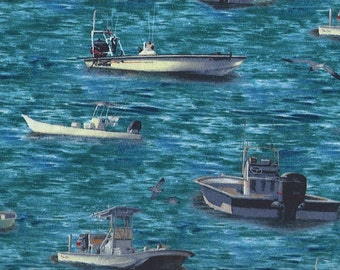 Fishing Boats at Sea, Wilmington Fabrics