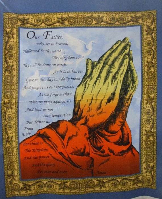 Religious Praying Hands Fabric Our Father Prayer Praying