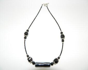 Black beaded necklace, gothic
