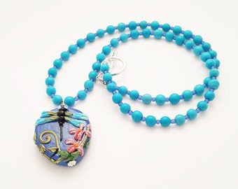 Dragonfly Pendant Necklaces for Women / Romantic Gift for Her / Flower Necklace / Lampwork Glass Bead Necklace /  Artisan Necklace