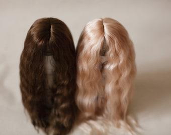 Custom color long angora wig for BJD