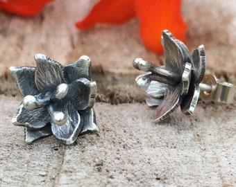 Lily Stud Earrings; Handmade Sterling Silver