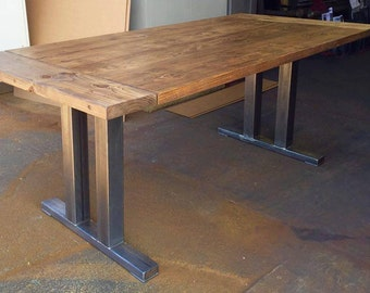 Reclaimed Wood Dining Table, Reclaimed Wood Table Top With Steel Legs,  Salvage Reclaimed Wood