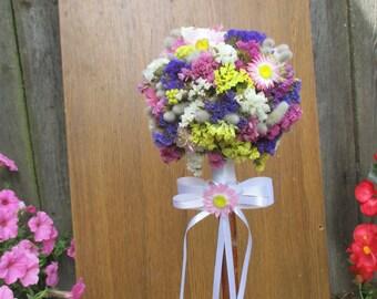 Flowergirl wand, Dried flowers flowergirl wand, Rustic wedding, wedding wand, Multicolor flowergirl wand, Natural wedding decor