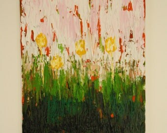 Abstract acrylic painting of flowers made on streched canvas