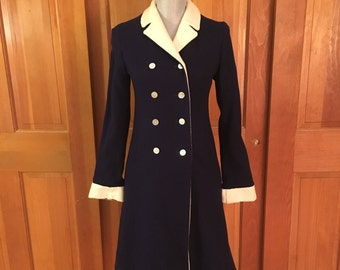 Vintage Navy Double Breasted Wool Coat, Navy with Ivory Trim Wool Coat, 50's Navy Coat