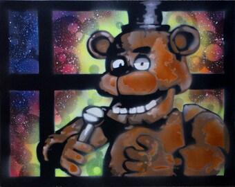 Freddy Fazbear - Five Nights At Freddy's - Fazbear Pizza - Anamatronic - Spray Paint Art