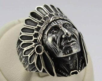 Native American Indian Chief ring 925 Silver man face