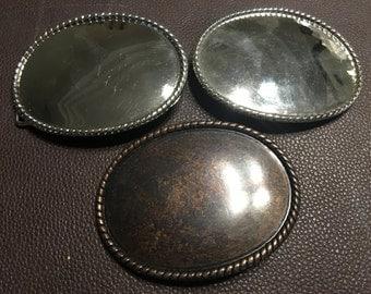 Set of 3 rustic colored belt buckles