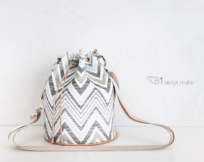 Pattern Bucket Bag, Light color Bucket Bag, Leather Bucket Bag, Cotton Crossbody Bag, Colorful bag, Gift for Her,Handmade Bucket Bag