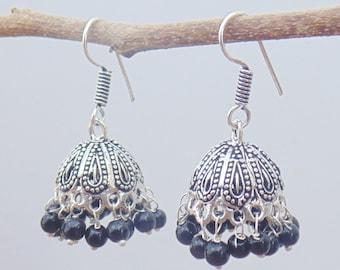 Indian Jhumka Earrings   Oxidized Earring   Hook Earwire Earring   Dangle Earring   Black beads earring jhumka   Tribal Jewelry Earring  E37