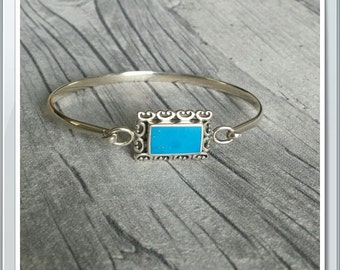 Beautiful Sterling Silver Bangle/Bracelet with Turquoise Stone Fully Hallmarked