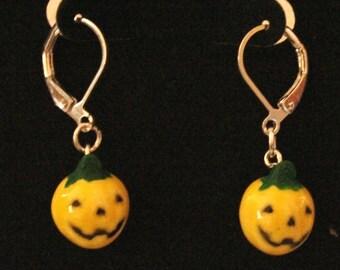Yellow Halloween Pumpkin Earrings