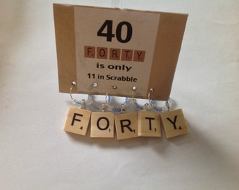 40th Birthday Scrabble Wine Charms