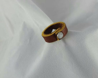 Leather Band Ring with Jeweled Rivet