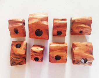 Set of 8 wooden pendants, wooden supplies for jewelry, wooden necklace, wood pendant, wood necklace, wooden jewelry, red wood