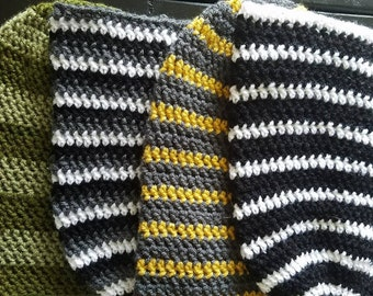 Custom Made Striped Crochet Slouchy Beanie