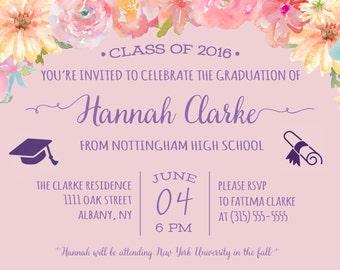 Graduation Invitations - Flower