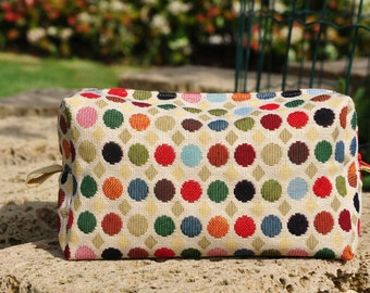 POIs-handmade handbag clutch gobelin polka dot design