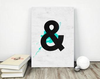 Ampersand Print, Black Ampersand Wall Art, Black and Turquoise,  Ampersand Poster, Love Ampersand, Turquoise Ampersand, Home Decor