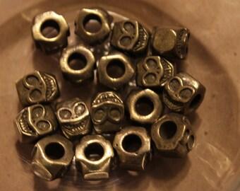 Hexagon Skull Bronze Beads