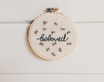 Beloved Embroidery Hoop Art - 4""
