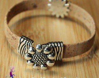 Bracelet made of Cork and loop OWL or flower choice