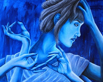 Finding Nirvana Blue Girl Giclee Print Artwork Hands