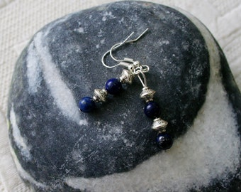 Lapis lazuli earrings with cute silver spacers