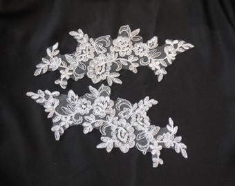 white or ivory floral lace applique / bridal wedding shoes lace motif is for sale. sold by per piece