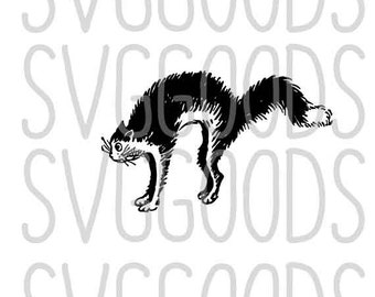 Cat dxf, Halloween dxf, hissing cat dxf, arched cat dxf, animal dxf, halloween cat dxf, kitty dxf, trick or treat dxf, commercial dxf