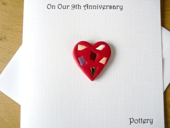 9th Wedding Anniversary Traditional Gift: 9th Wedding Anniversary Card Pottery Ninth By