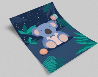 Poster blue koala night child room - instant download