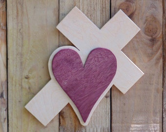 Purple Heart Wood Cross