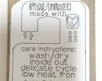 Applique embroidery care instructions tag set of 10