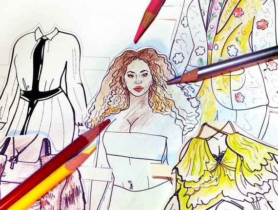 beyonce lemonade colorable paper doll printable cut and rh etsy com Beyonce Lemonade Booklet Rihanna Coloring Book
