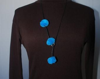Blue Pom Pom Lariat / Y Necklace