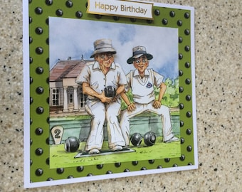 """Handmade Birthday card 3D decoupage humourous male bowls bowler 6"""" square"""