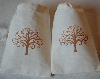 10 Wedding favor bags - Swirl tree muslin cotton party favor bags 3x5 inch - bridal shower, weddings, you choose ink color and bag size