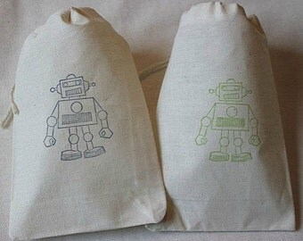 10 Robot muslin cotton party favor bags 4x6 inch - For kid's birthday party, cotton pouch, goodie bags, gift bags, favor bags, party bags
